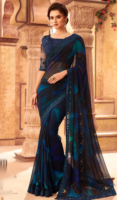 Georgette Designer Embroidered Sari in Blue and Black