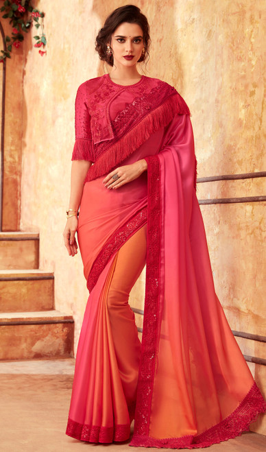 Peach and Coral Color Silk Embroidered Sari