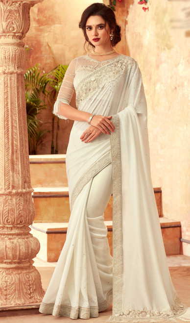 Off White Color Silk Embroidered Sari