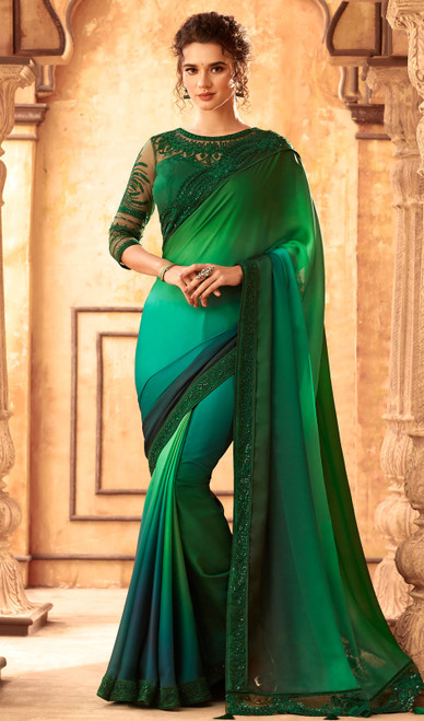 Green and Light Green Color Silk Embroidered Sari