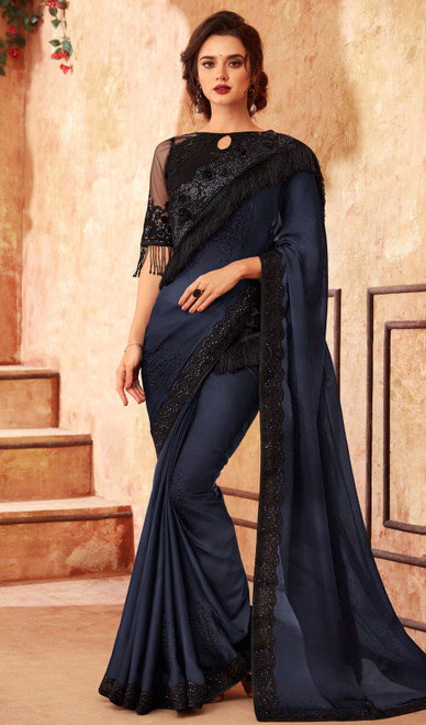 Silk Dark Blue Color Embroidered Saree