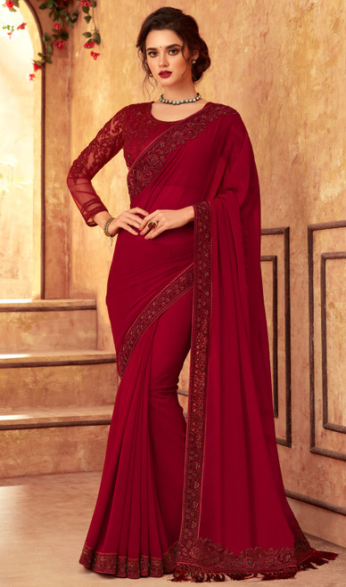 Georgette Embroidered Sari in Maroon Color