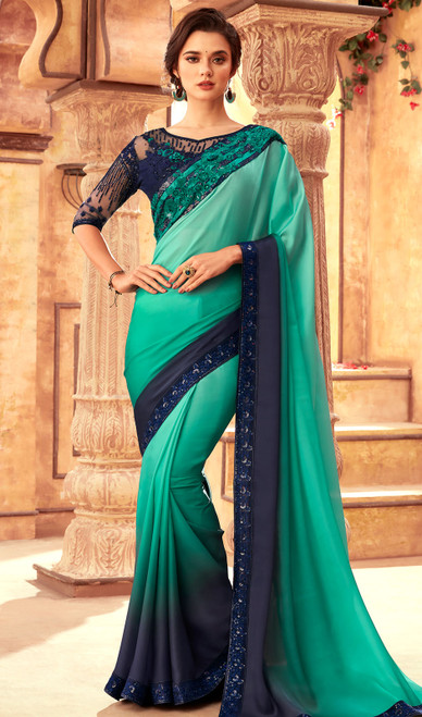Silk Embroidered Sari in Sea Green and Blue Color