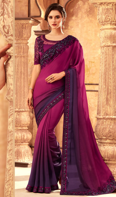 Silk Magenta Color Shaded Embroidered Sari