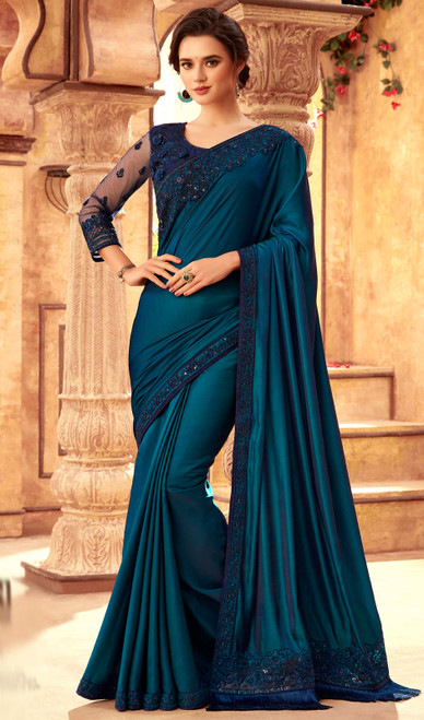 Teal Blue Color Silk Embroidered Saree