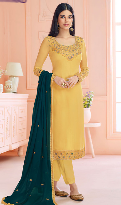 Georgette Light Yellow Color Embroidered Pant Style Suit