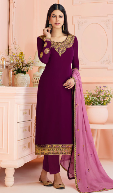 Georgette Wine Color Embroidered Pant Style Suit