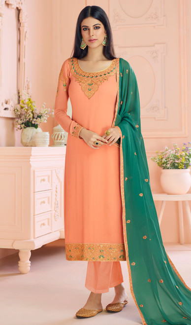 Georgette Light Peach Color Embroidered Pant Style Suit
