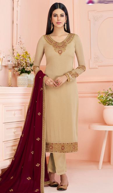 Georgette Beige Color Embroidered Pant Style Suit