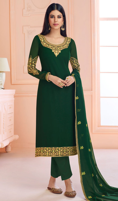 Georgette Green Color Designer Embroidered Pant Style Suit