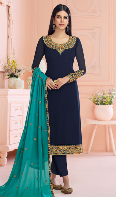 Georgette Navy Blue Color Embroidered Pant Style Suit