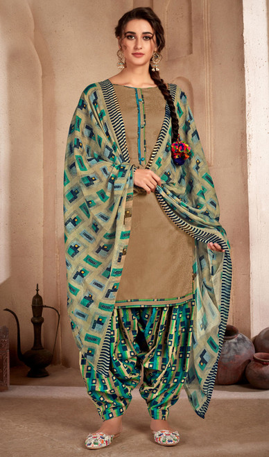 Beige Color Printed Cotton Patiala Suit