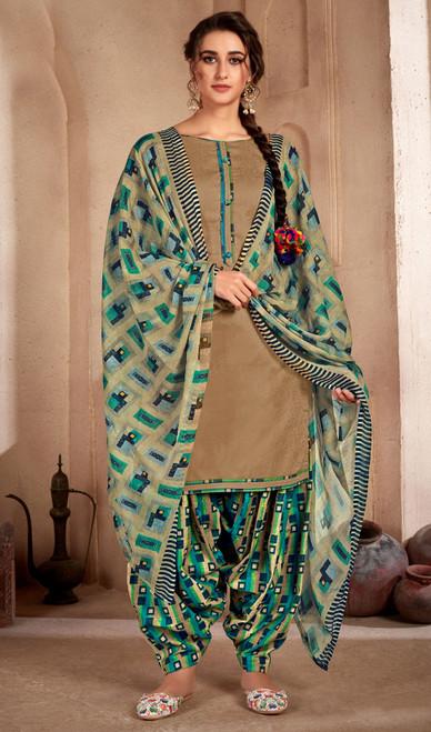 Beige Color Printed Cotton Patiala Suit