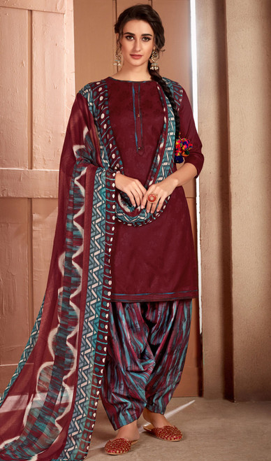 Maroon Color Printed Cotton Patiala Suit