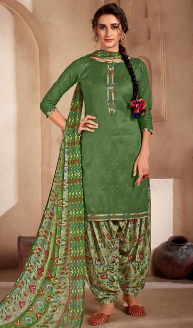 Green Color Printed Cotton Patiala Suit