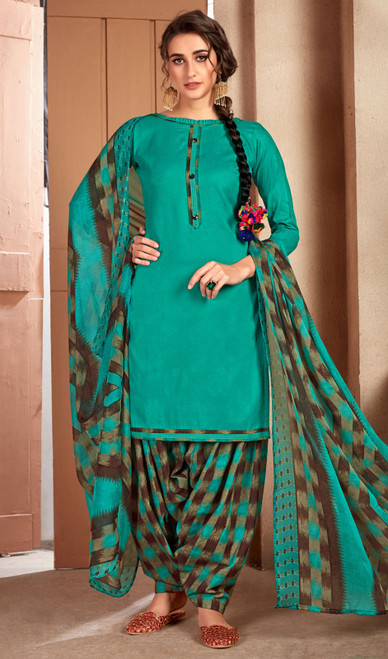 Rama Green Color Printed Cotton Patiala Suit