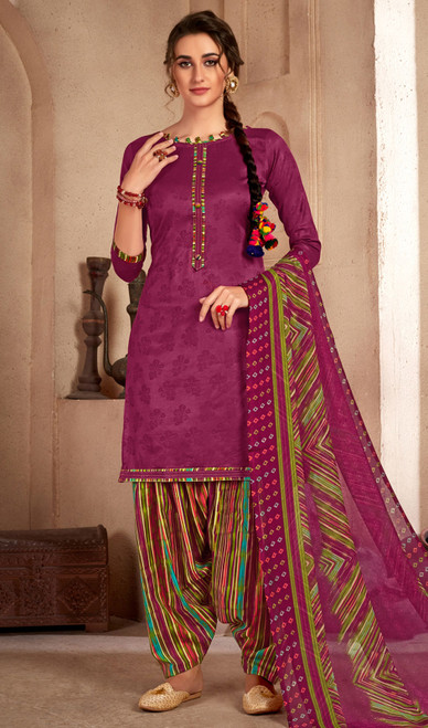 Magenta Color Printed Cotton Patiala Suit