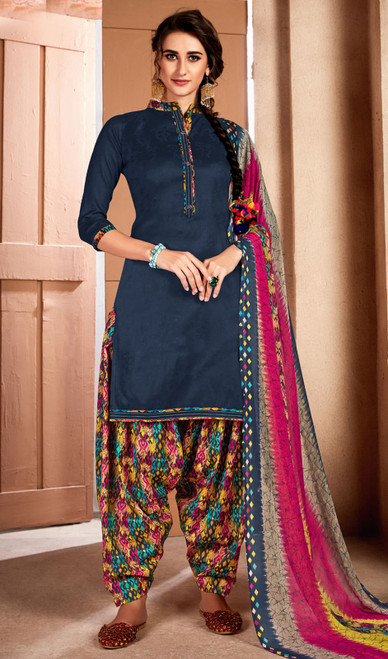 Teal Blue Color Printed Cotton Patiala Suit
