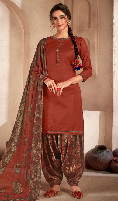 Coffee Color Printed Cotton Patiala Suit