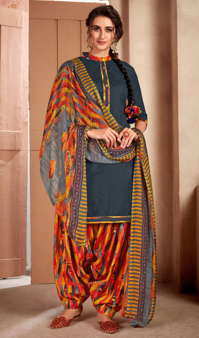 Teal Green Color Printed Cotton Patiala Suit