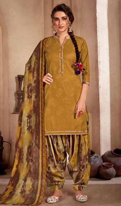 Mehendi Color Printed Cotton Patiala Suit