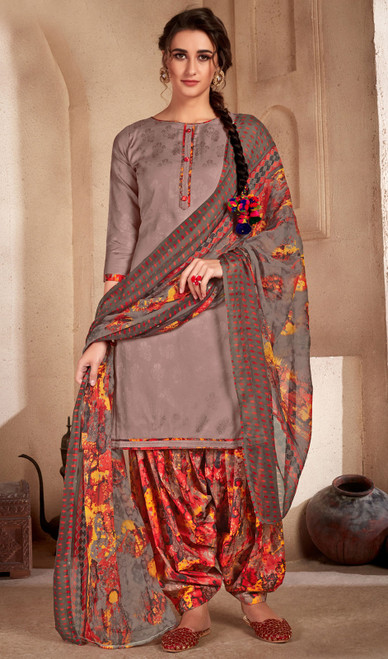 Gray Color Printed Cotton Patiala Suit