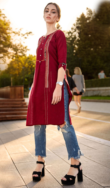 Rayon Flex Embroidered Kurti in Maroon Color