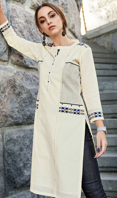 Rayon Flex Embroidered Kurti in Off White Color