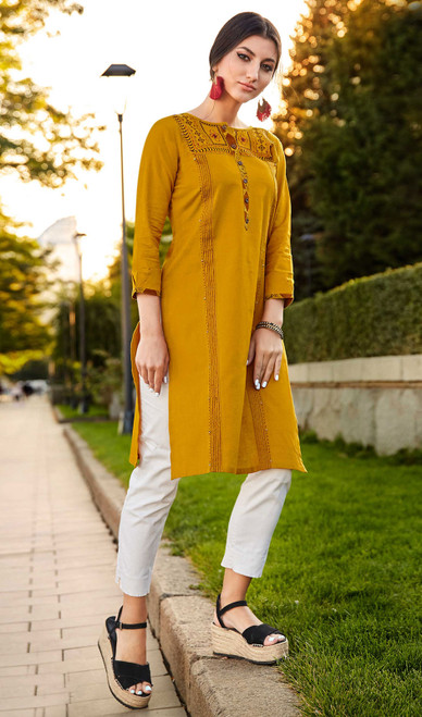 Rayon Flex Embroidered Kurti in Mustard Color