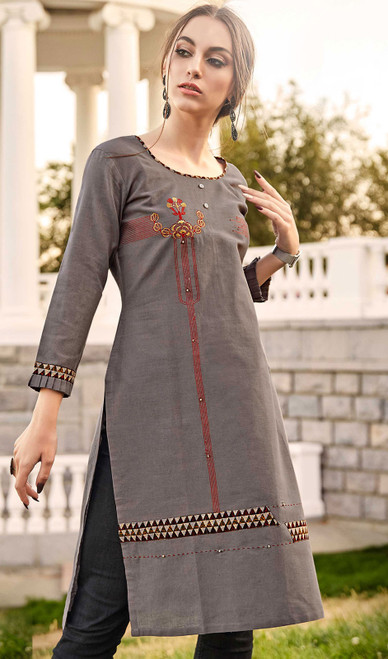 Rayon Flex Embroidered Kurti in Gray Color