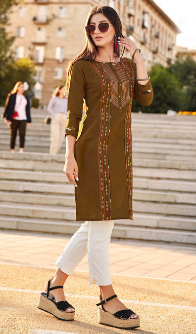 Rayon Flex Embroidered Kurti in Mehendi Color