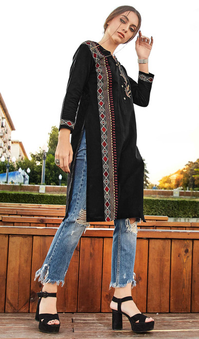 Rayon Flex Embroidered Kurti in Black Color