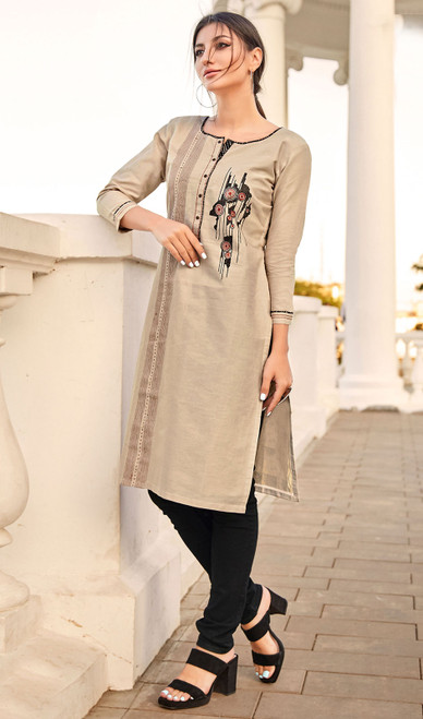 Rayon Flex Embroidered Kurti in Beige Color