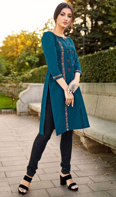 Rayon Flex Embroidered Kurti in Teal Blue Color