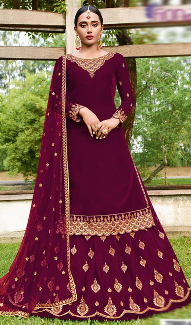 Magenta Color Goergette Embroidered Lehenga Suit