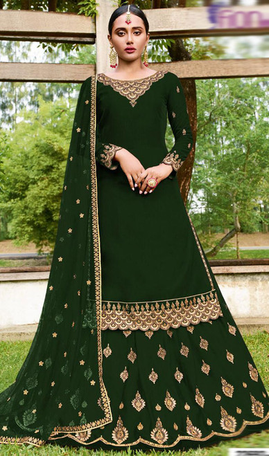 Green Color Goergette Embroidered Lehenga Suit