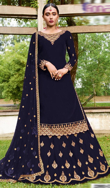 Navy Blue Color Goergette Embroidered Lehenga Suit