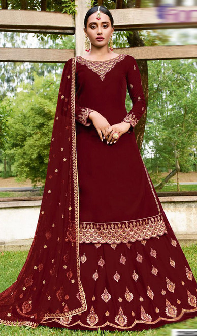 Maroon Color Goergette Embroidered Lehenga Suit