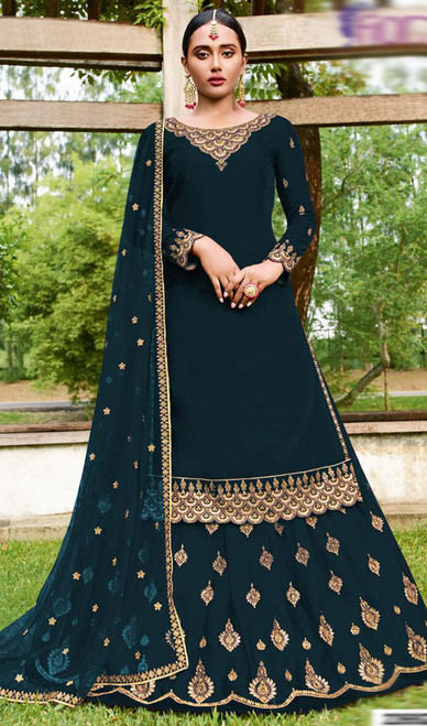 Teal Blue Color Goergette Embroidered Lehenga Suit