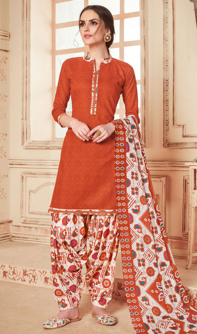 Cotton Orange Color Printed Punjabi Suit