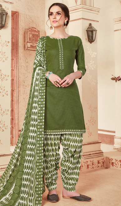 Cotton Printed Green Color Punjabi Dress