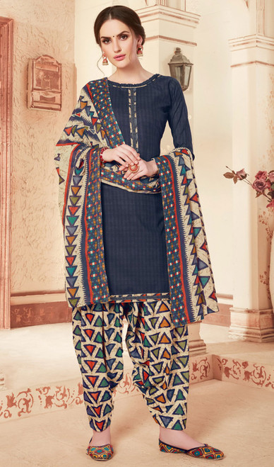 Navy Blue Color Cotton Printed Punjabi Suit