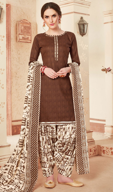Coffee Color Cotton Printed Punjabi Suit