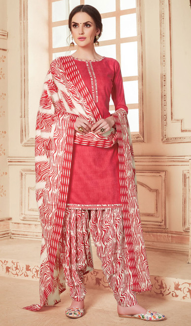 Cotton Printed Punjabi Dress in Redish Pink Color