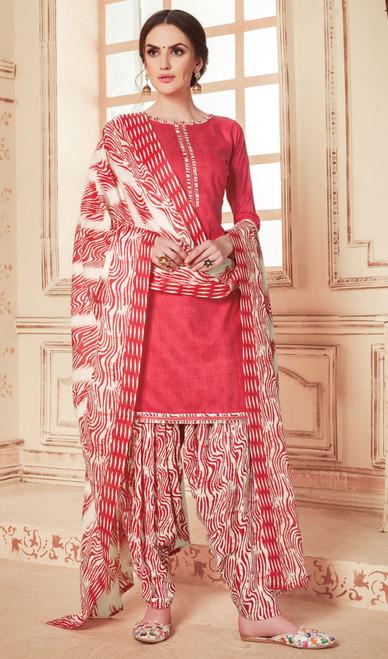Cotton Printed Punjabi Dress in Redish Pink Color