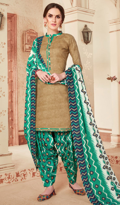 Cotton Beige Color Printed Punjabi Suit