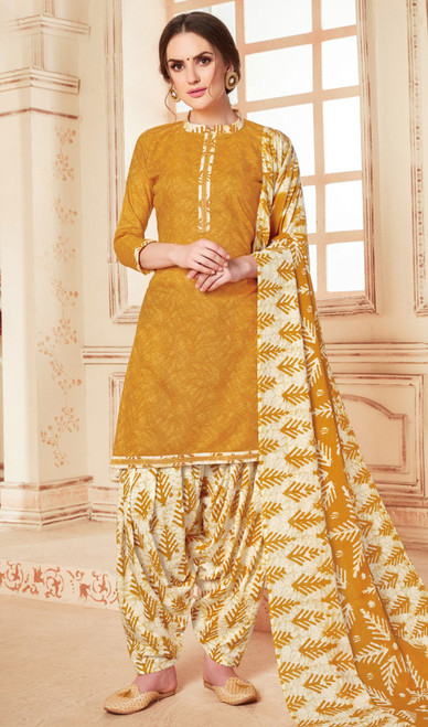 Mustard Color Cotton Printed Punjabi Dress