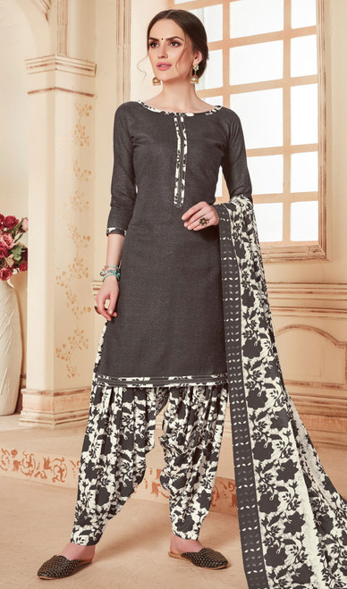 Black Color Cotton Printed Punjabi Suit