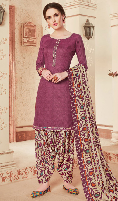 Violet Color Cotton Printed Punjabi Dress