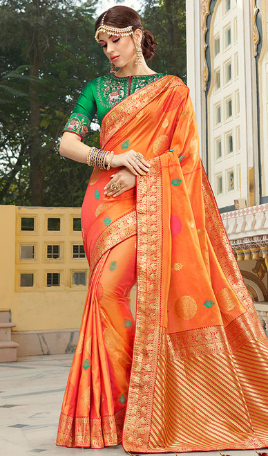 Orange Color Shaded Weaving Silk Sari